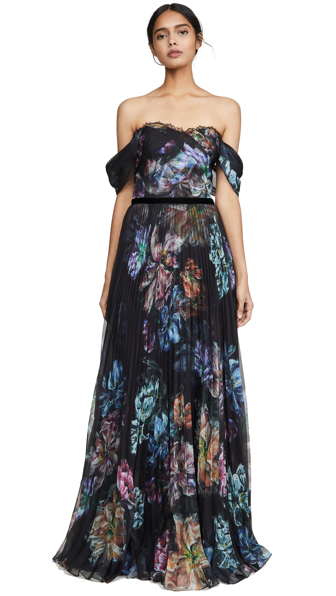 Buy Marchesa Notte online - photo of Marchesa Notte Off the Shoulder Printed Chiffon and Charmeuse Gown