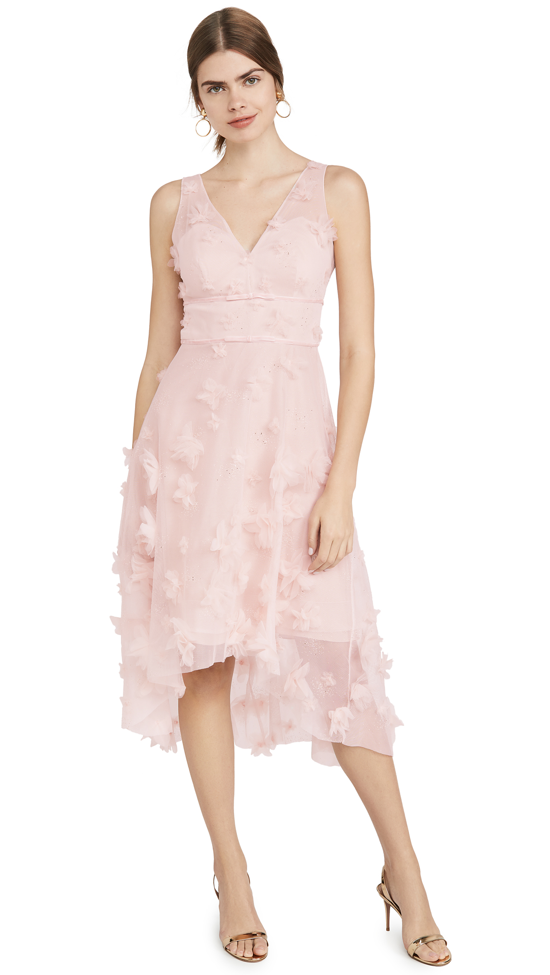 Buy Marchesa Notte online - photo of Marchesa Notte Sleeveles Metallic Embroidered Cocktail Dress