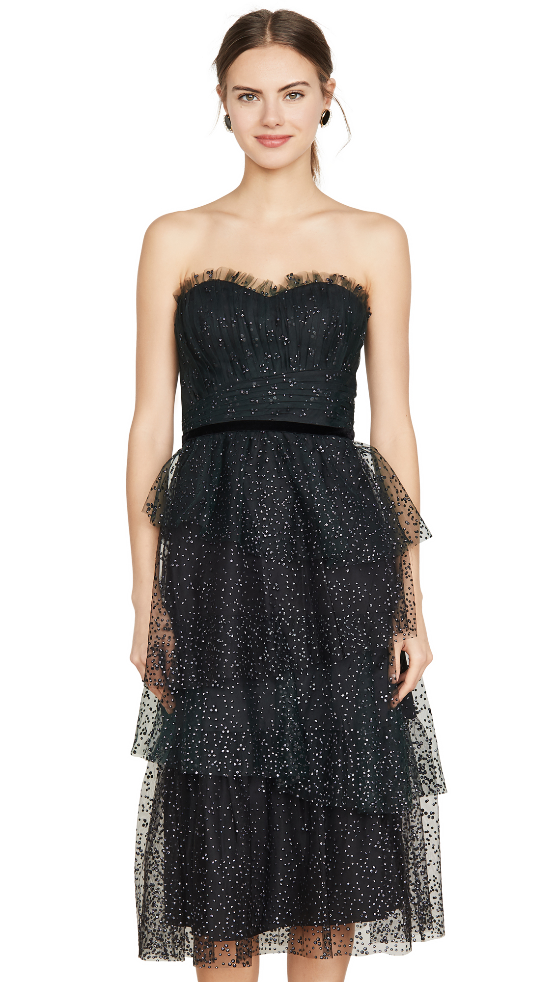 Buy Marchesa Notte online - photo of Marchesa Notte Strapless Glitter Tulle Gown