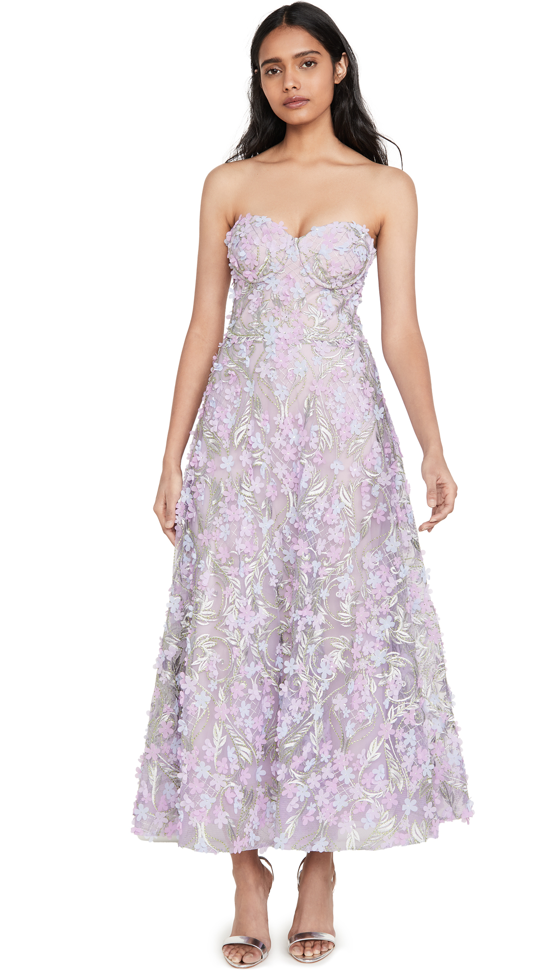 Buy Marchesa Notte 3D Embroidered Strapless Tea Length Gown online beautiful Marchesa Notte Dresses, Strapless