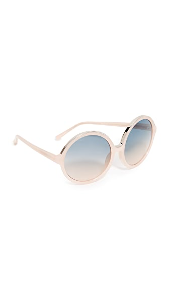 No. 21 Oversized Round Sunglasses - Milky Pink/Blue