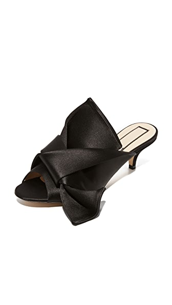 No. 21 Mules with Bow - Black
