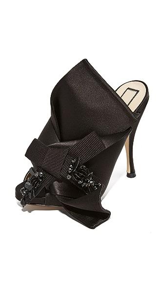 No. 21 Crystal Bow Mules - Black