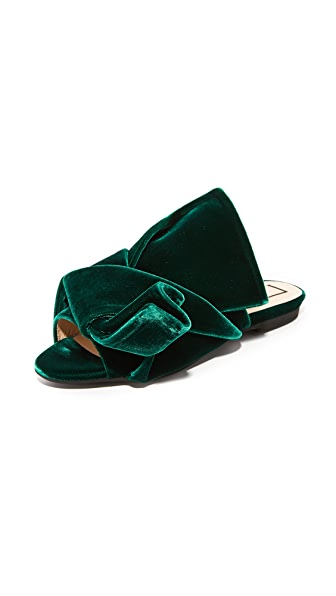 No. 21 Flat Slides with Bow in Velvet - Green