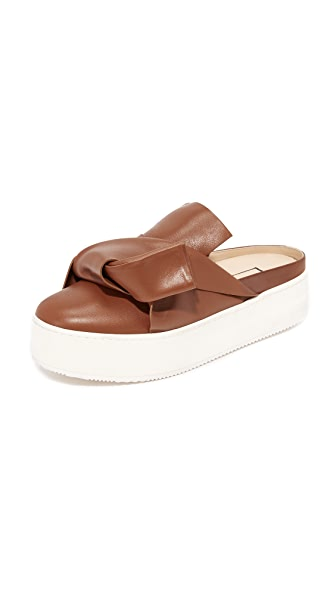 No. 21 Flat Slides with Bow in Leather - Brown