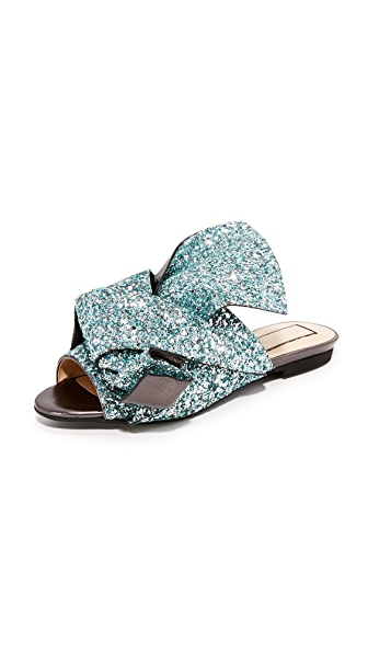 No. 21 Flat Slides with Bow - Glitter Celeste