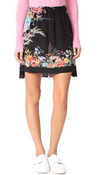 No. 21 Printed Skirt with Pleated Back In Multicolor