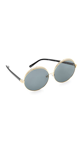 No. 21 Oversized Round Sunglasses - Gold/Grey