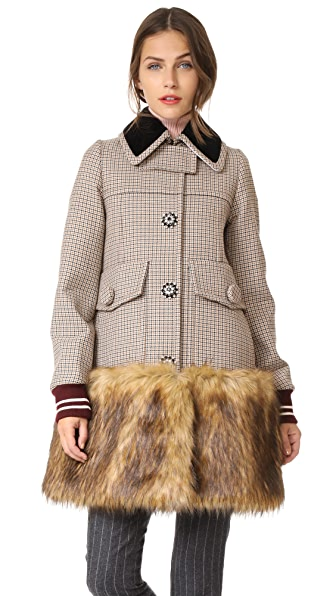 No. 21 Check Coat - Brown