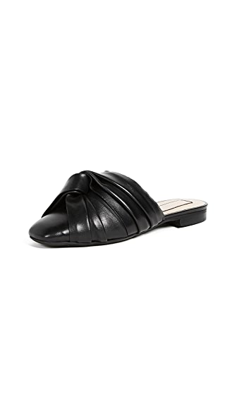 No. 21 Leather Knot Mules In Black