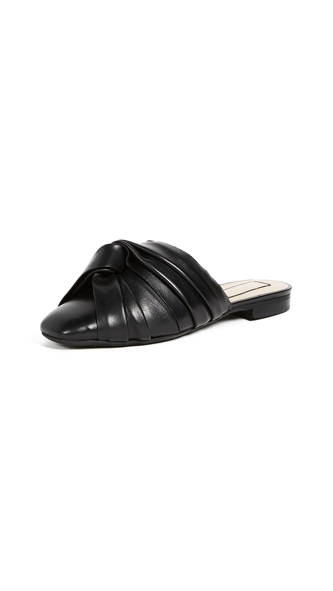 No. 21 Leather Knot Mules - Black