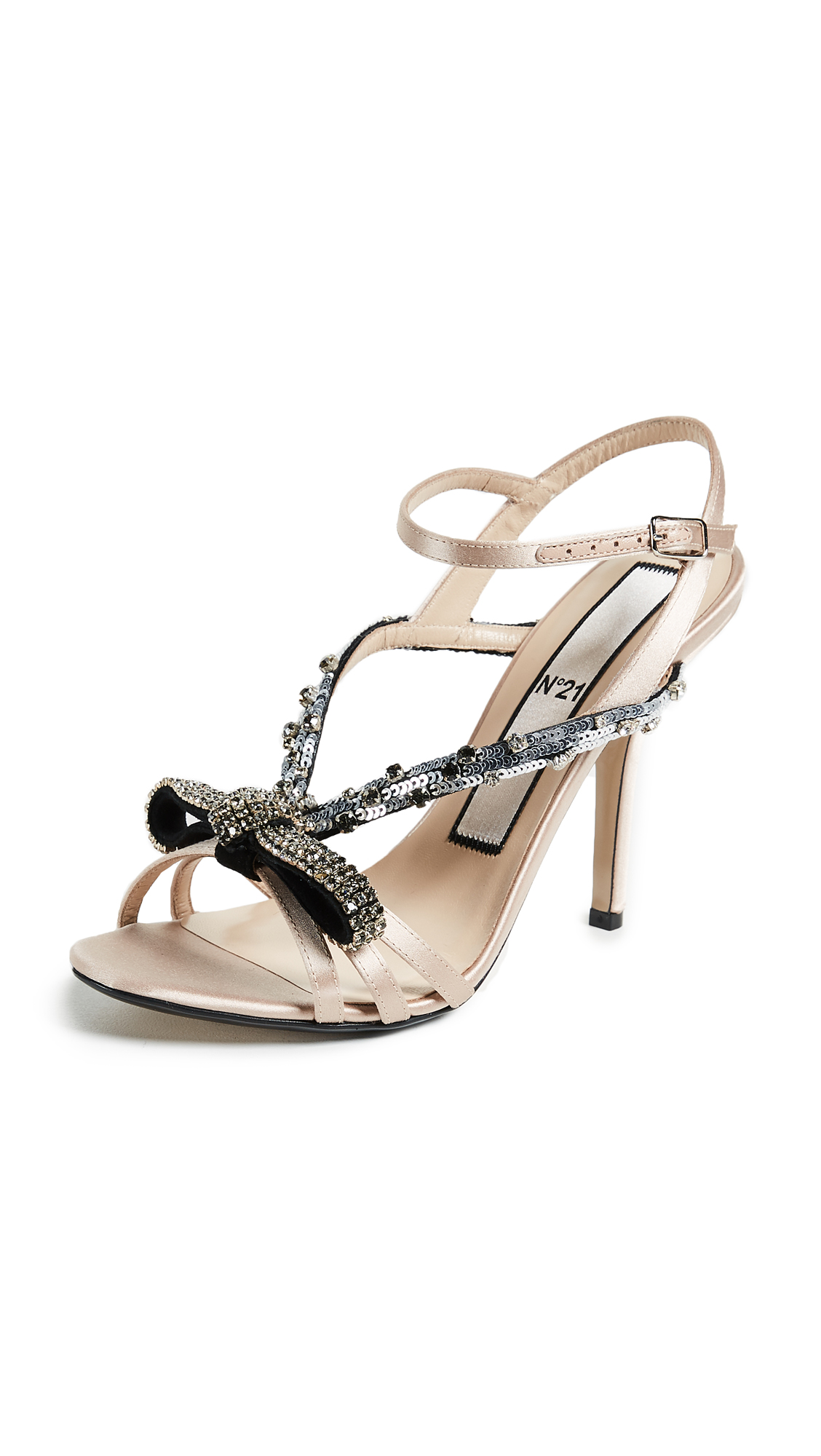 No. 21 Bow Embroidery Sandals - Nude