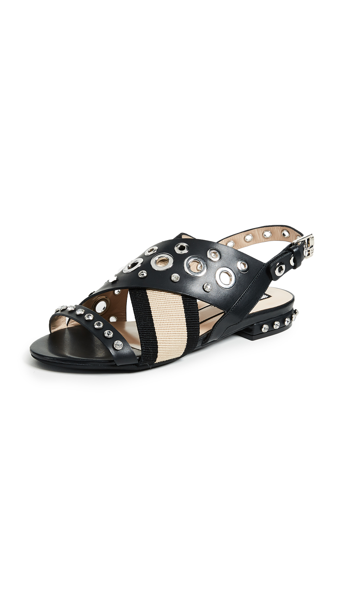 No. 21 Grommet Sandals - Black