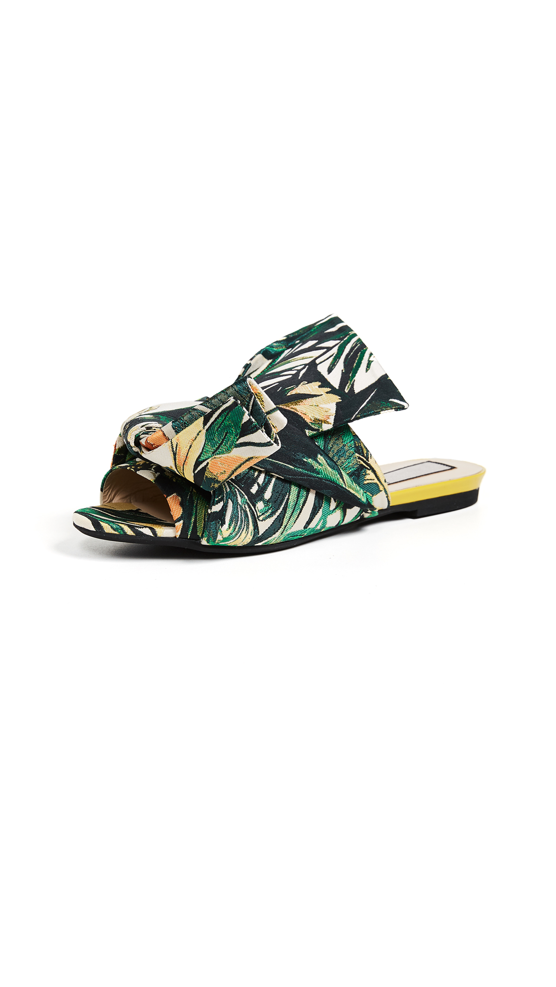No. 21 Jacquard Knot Slide Sandals - Palms Print