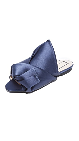 No. 21 Flat Slides with Bow In Blue/Navy