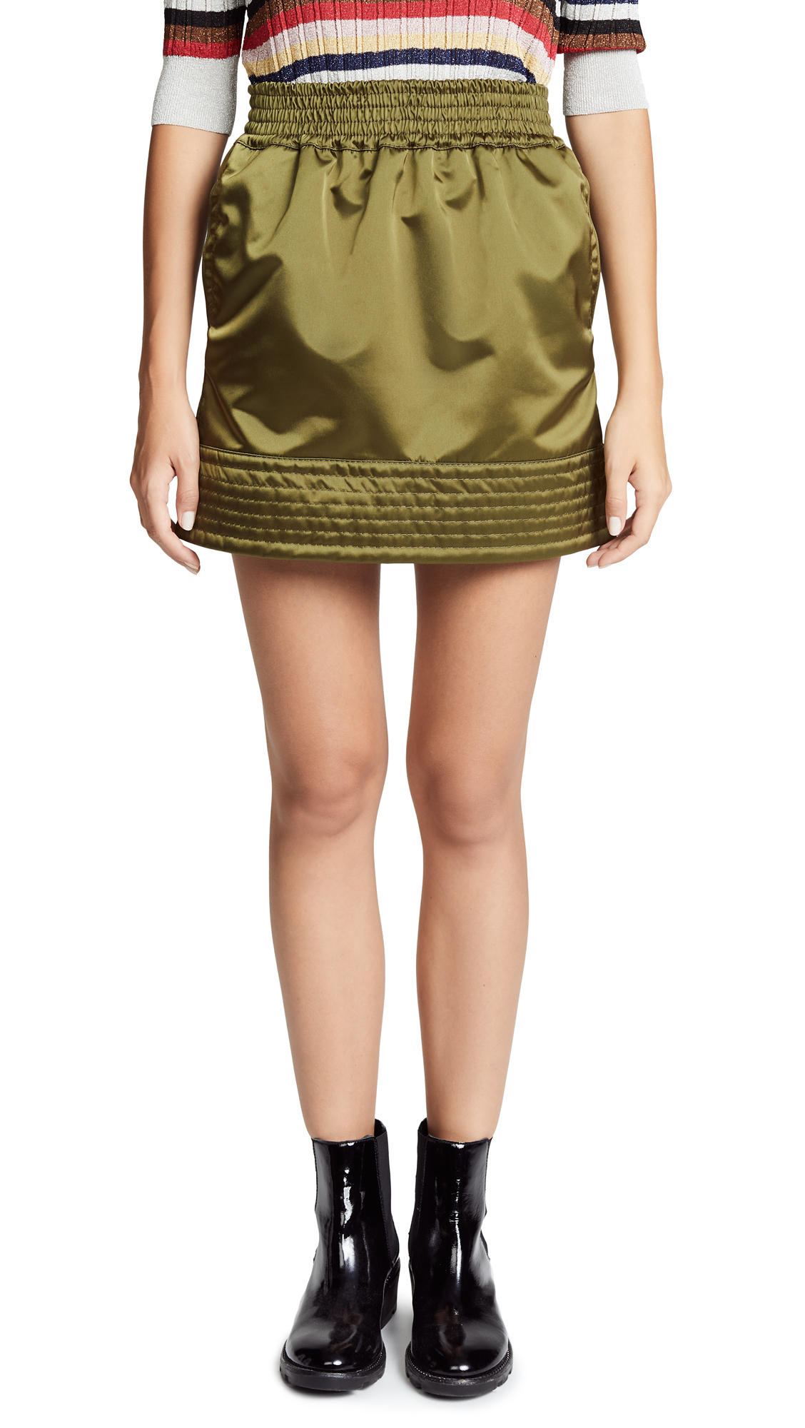 Nº21 High Shine Sporty Skirt - Green, Salvia
