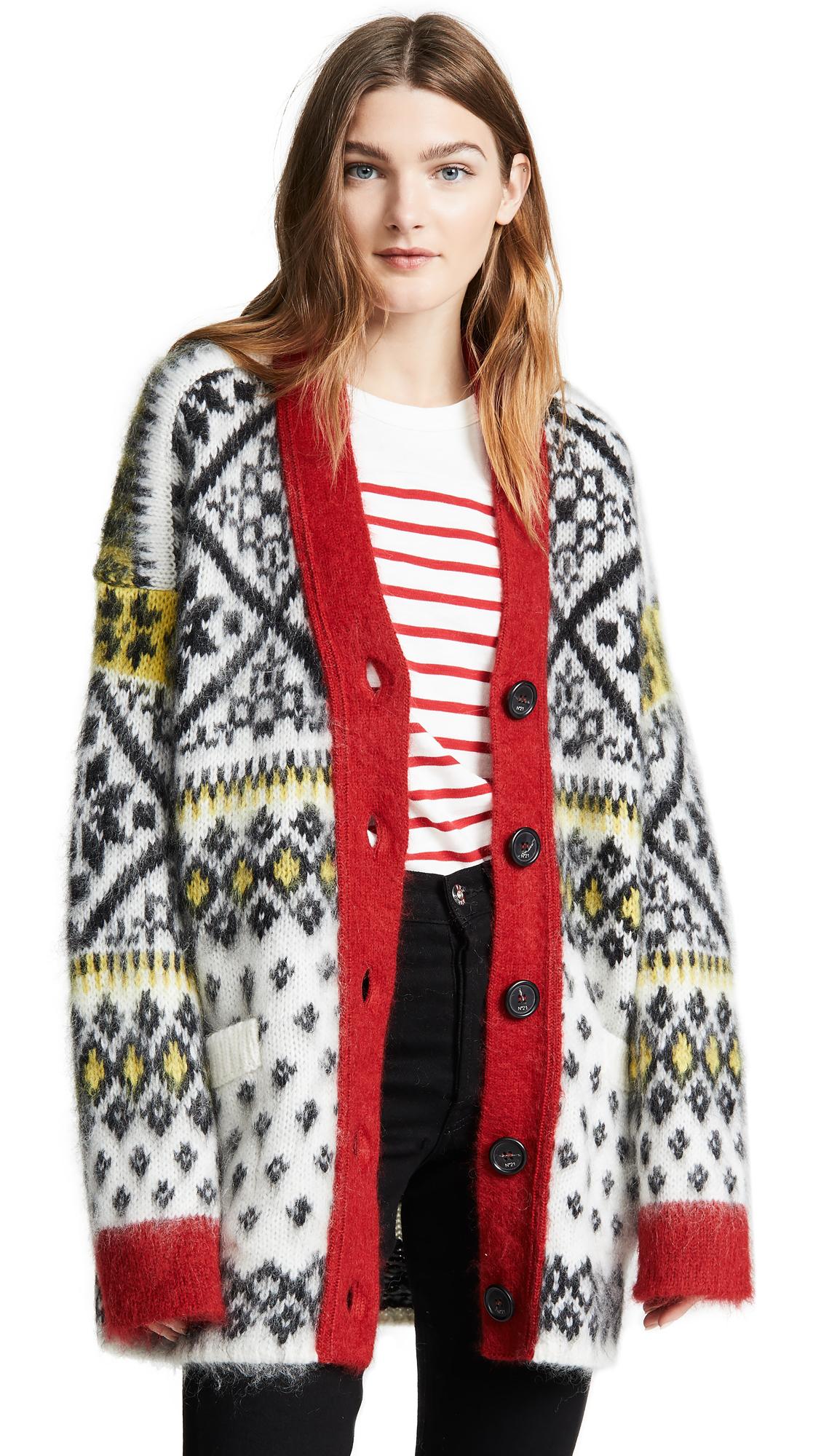 N°21 Fair Isle-Knit Oversized Wool-Blend Cardigan in Black