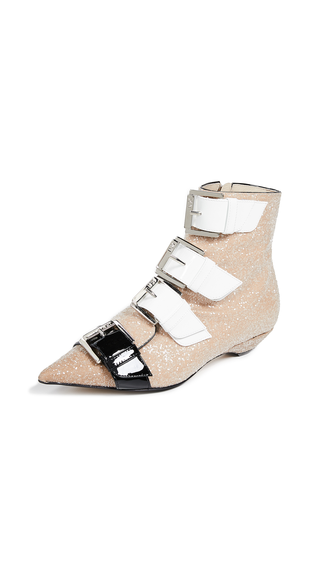 No. 21 Strapped Glitter Booties - Beige