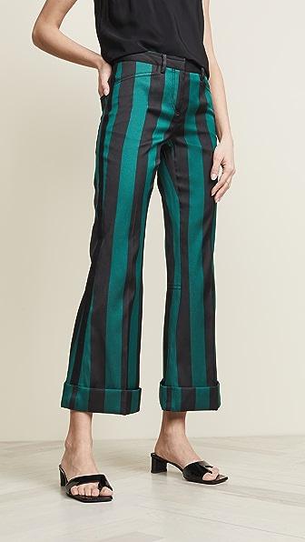 N°21 Pants STRIPE CROPPED FLARE PANTS