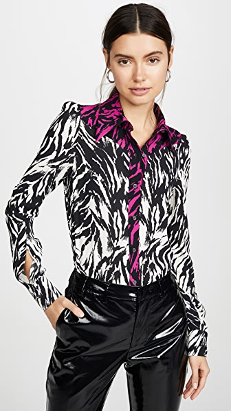N°21 Tops ZEBRA CONTRAST BUTTON DOWN TOP