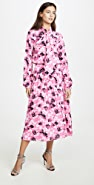No. 21 Floral Midi Long Sleeve Dress with Tie