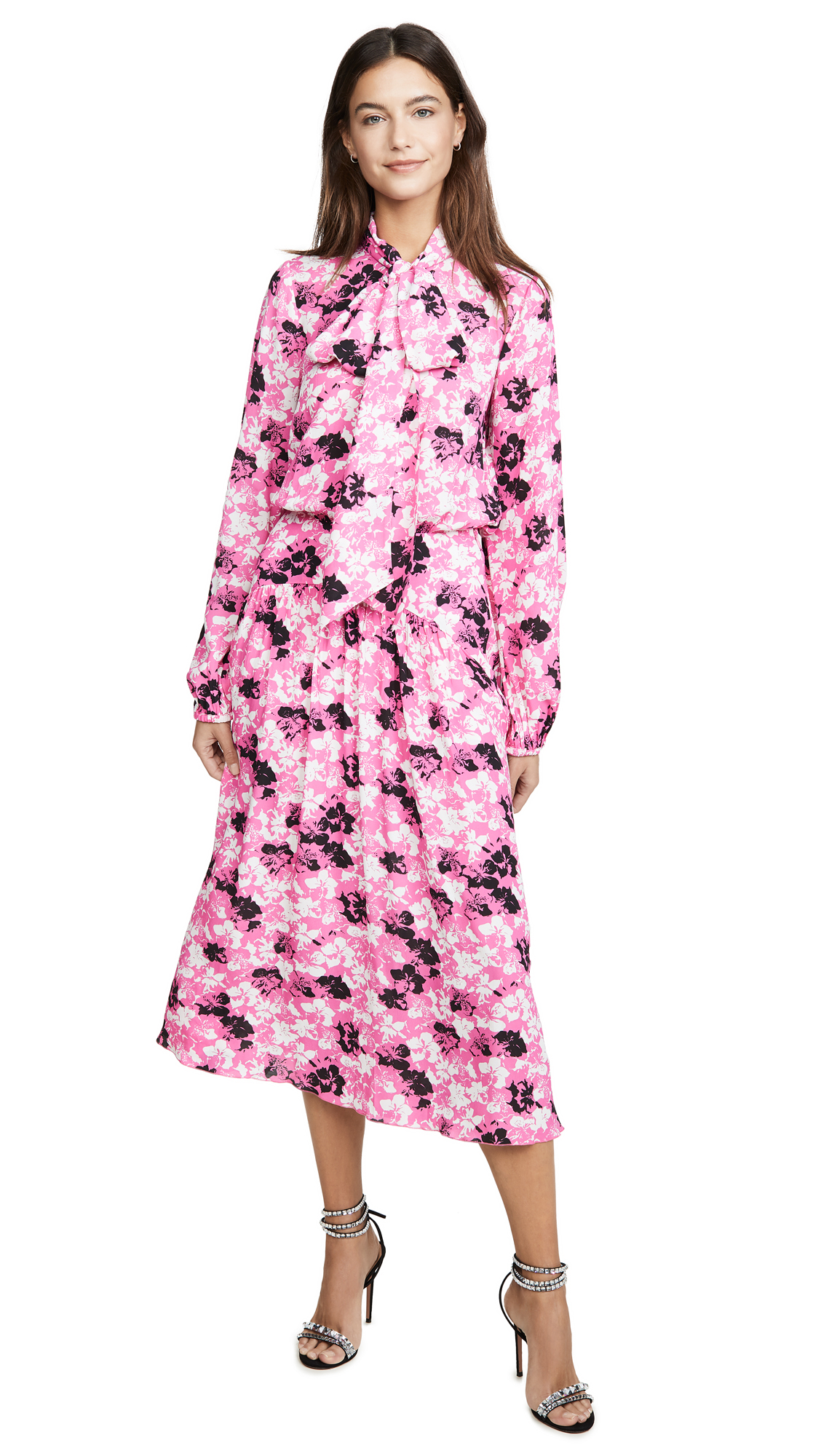 No. 21 Floral Midi Long Sleeve Dress with Tie – 50% Off Sale