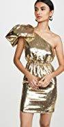 No. 21 Metallic One Shoulder Mini Dress