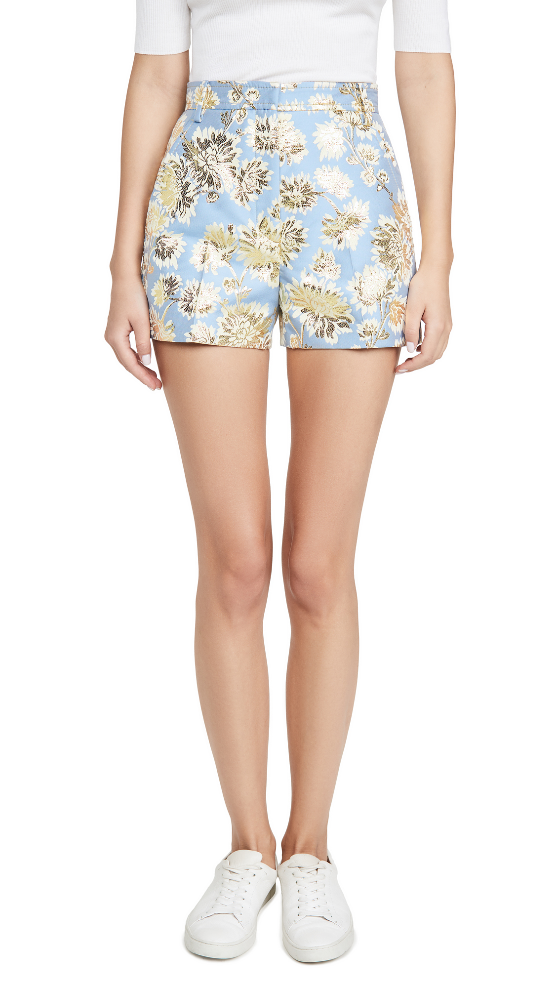 Buy No. 21 online - photo of No. 21 Metallic Floral Shorts