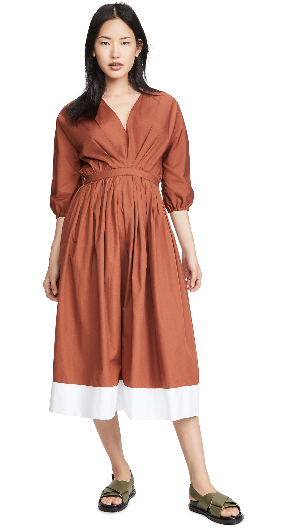 No. 21 V Neck Long Sleeve Midi Dress – 40% Off Sale