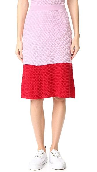 Novis Textured Tonal Skirt - Pink/Red
