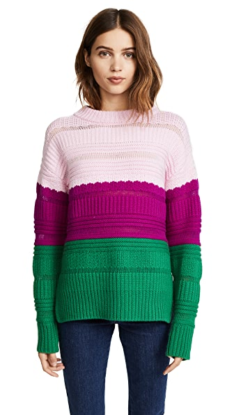 Novis The Wadworth Pullover Sweater In Pink/Berry/Grass