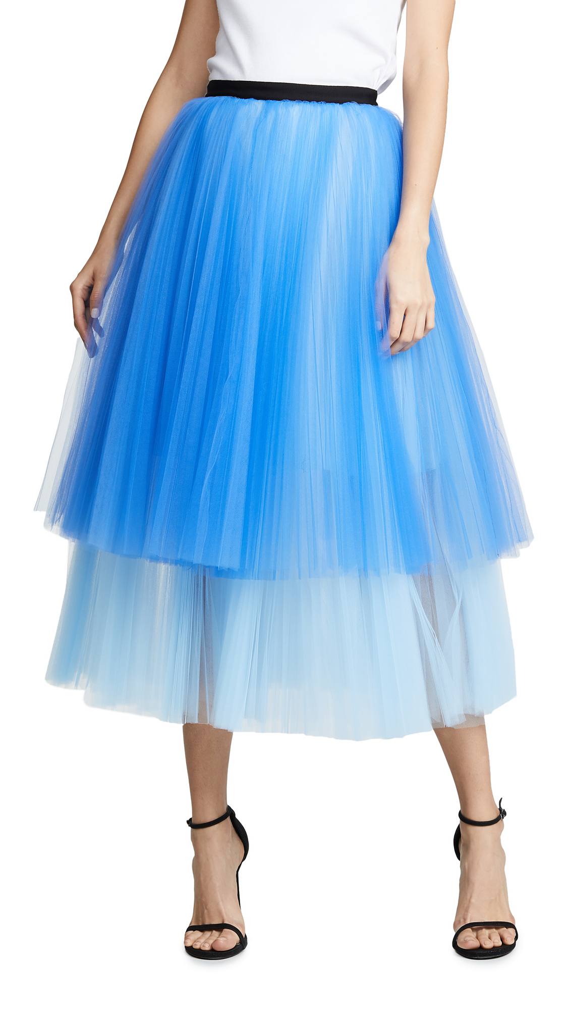 NOVIS Fay Pleated Evening Skirt in Royal/Powder Blue