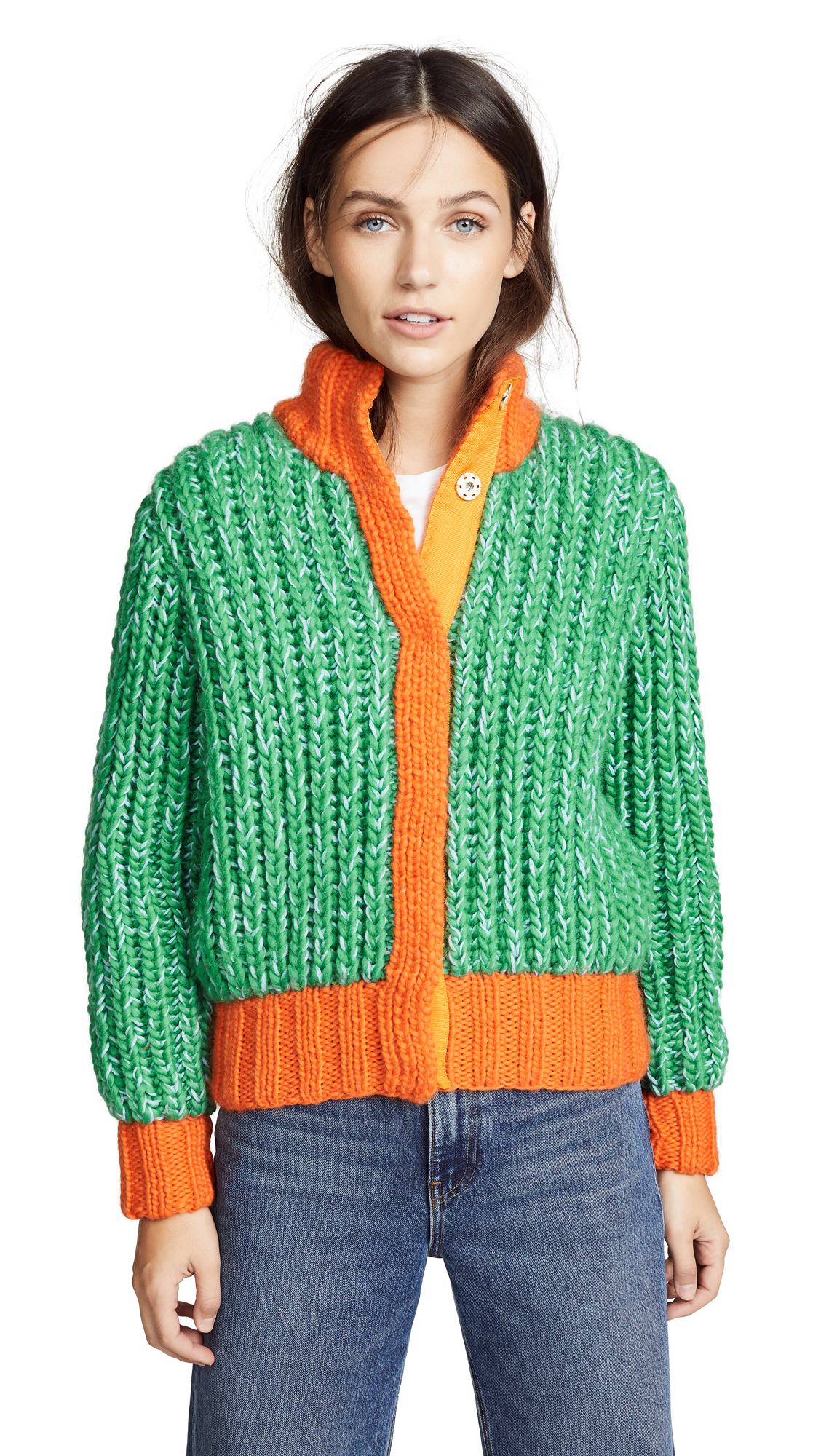Novis Jagger Cropped Hand Knit Cardigan In Carrot/Leaf Green