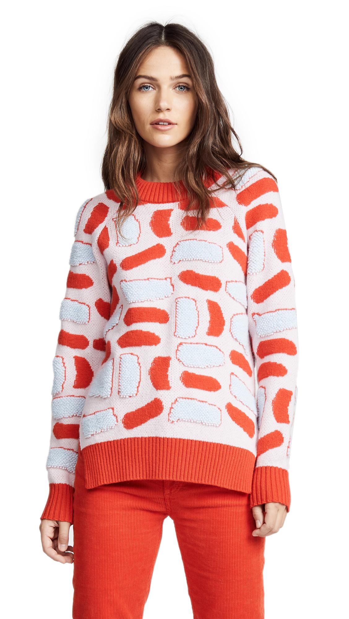 Novis Barnsley Jacquard Sweater In Rose/Carrot/Powder Blue
