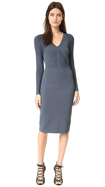 Narciso Rodriguez Трикотажное платье с длинными рукавами