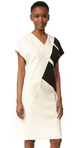 Narciso Rodriguez Cap Sleeve V Neck Dress