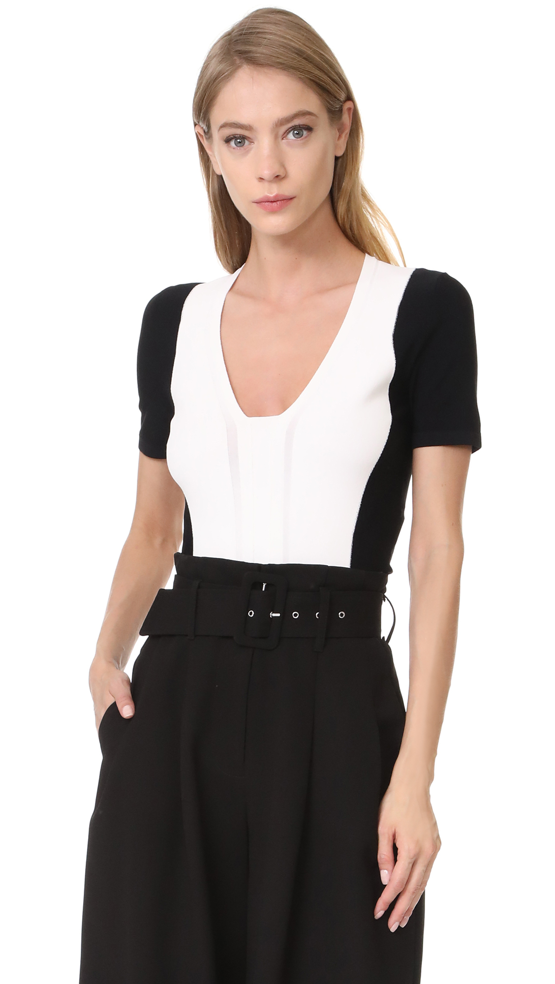 Narciso Rodriguez 3/4 Sleeve Knit Top - White/Black