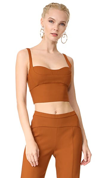 Narciso Rodriguez Sleeveless Crop Top In Copper