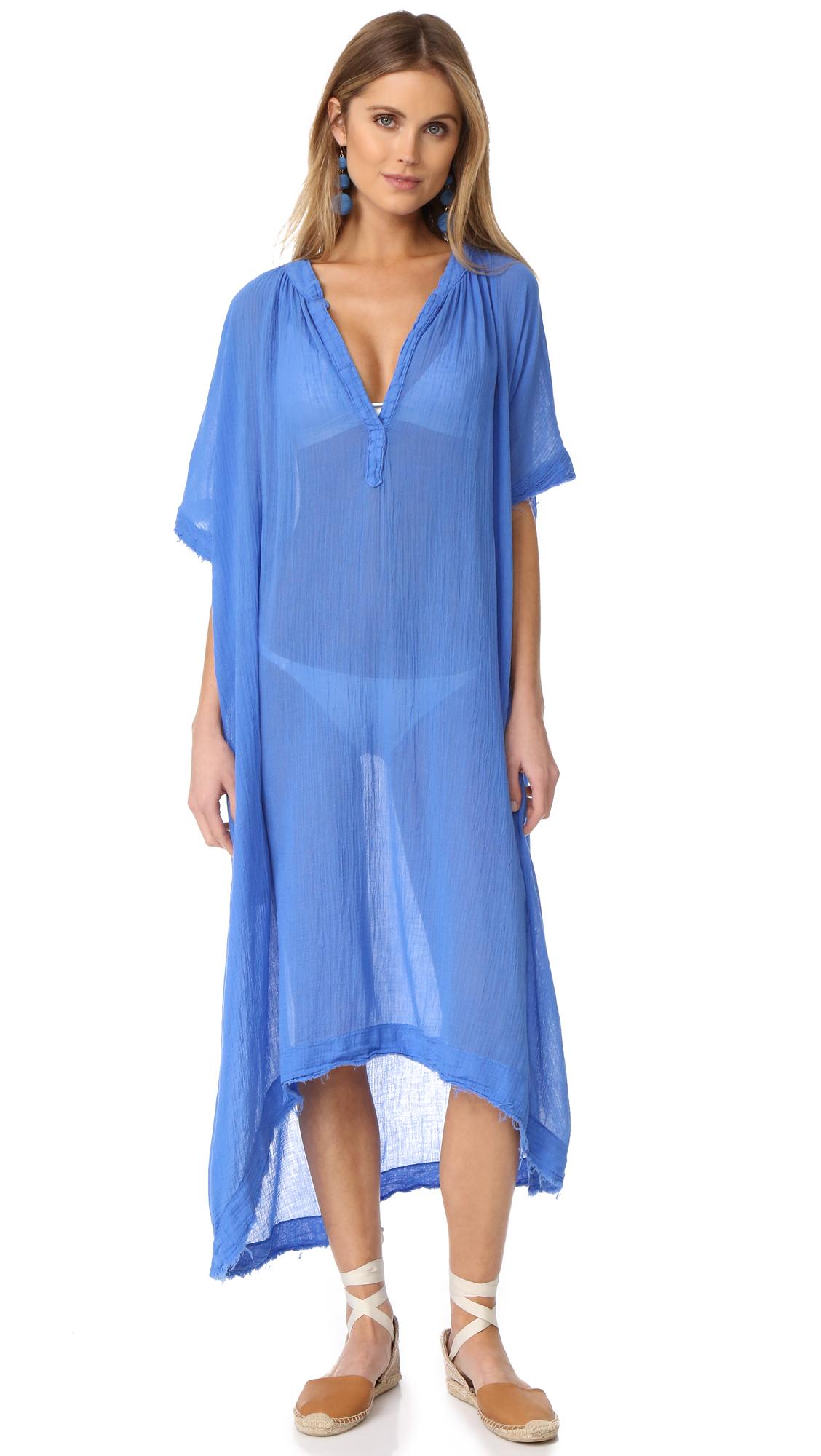 9SEED Tunisia Short Sleeve Caftan in Blue