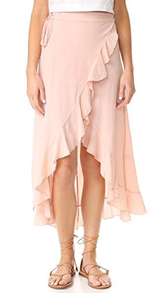 9seed Solana Wrap Skirt In Dusty Rose