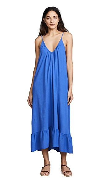 9seed Paloma Ruffle Maxi Dress In Blueberry