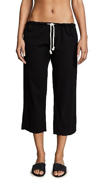 9seed Hamptons Drawstring Crop Pants In Black