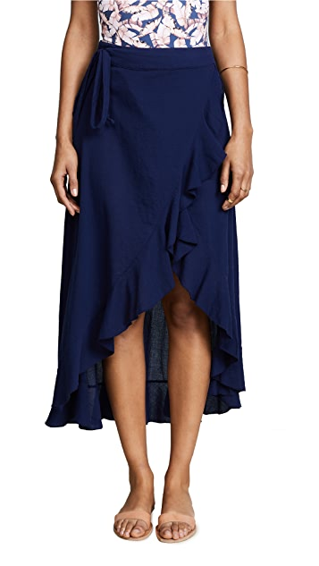 9seed Solana Wrap Skirt in Pacific Blue