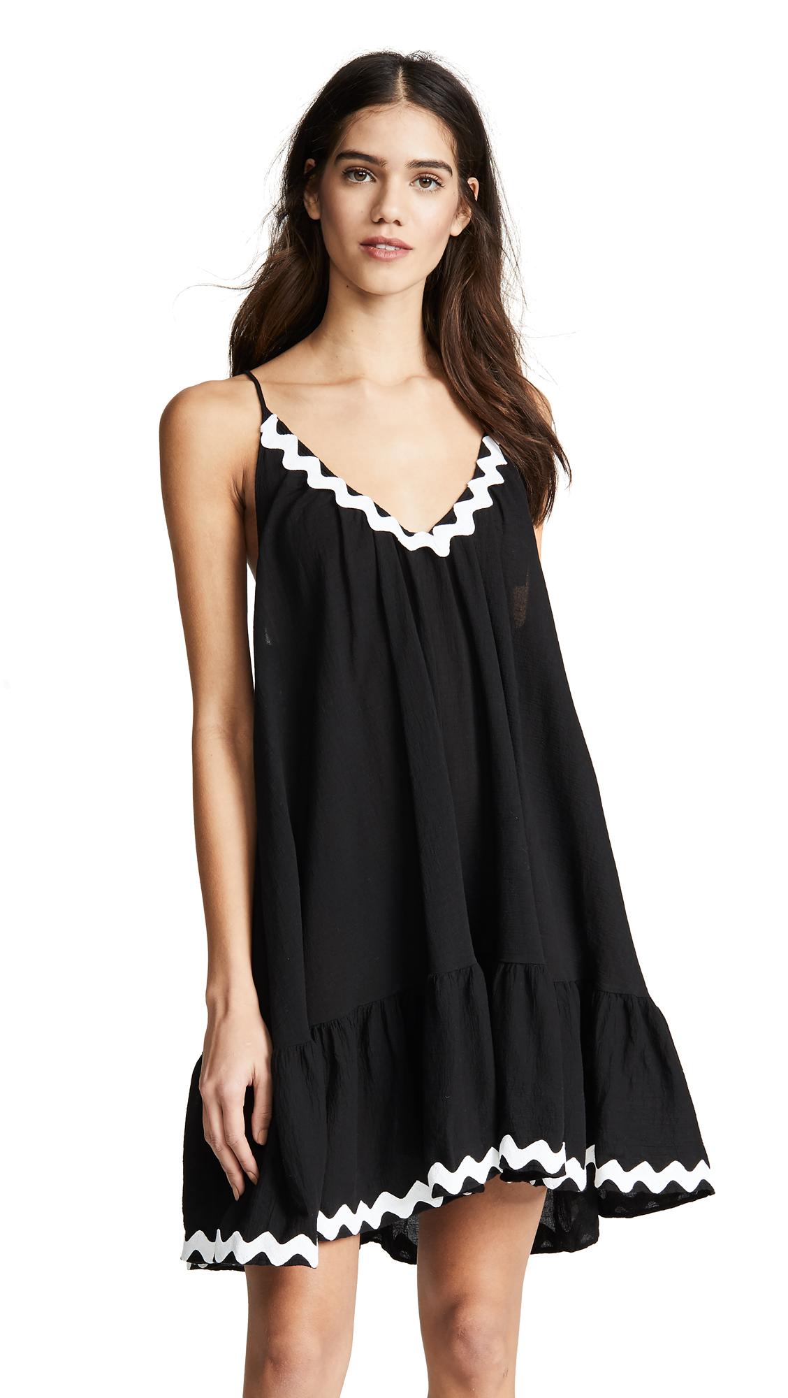9SEED St Tropez Ruffle Mini Dress in Black/White