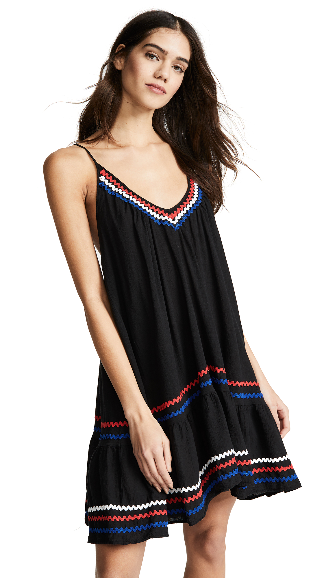 9SEED St Tropez Ruffle Mini Dress in Black/Multi