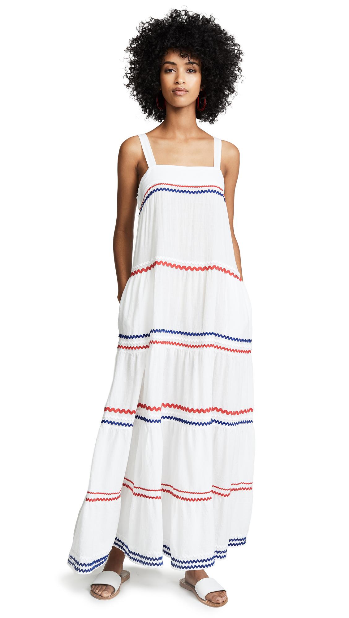 9SEED Sayulita Tier Maxi Dress in White/Multi