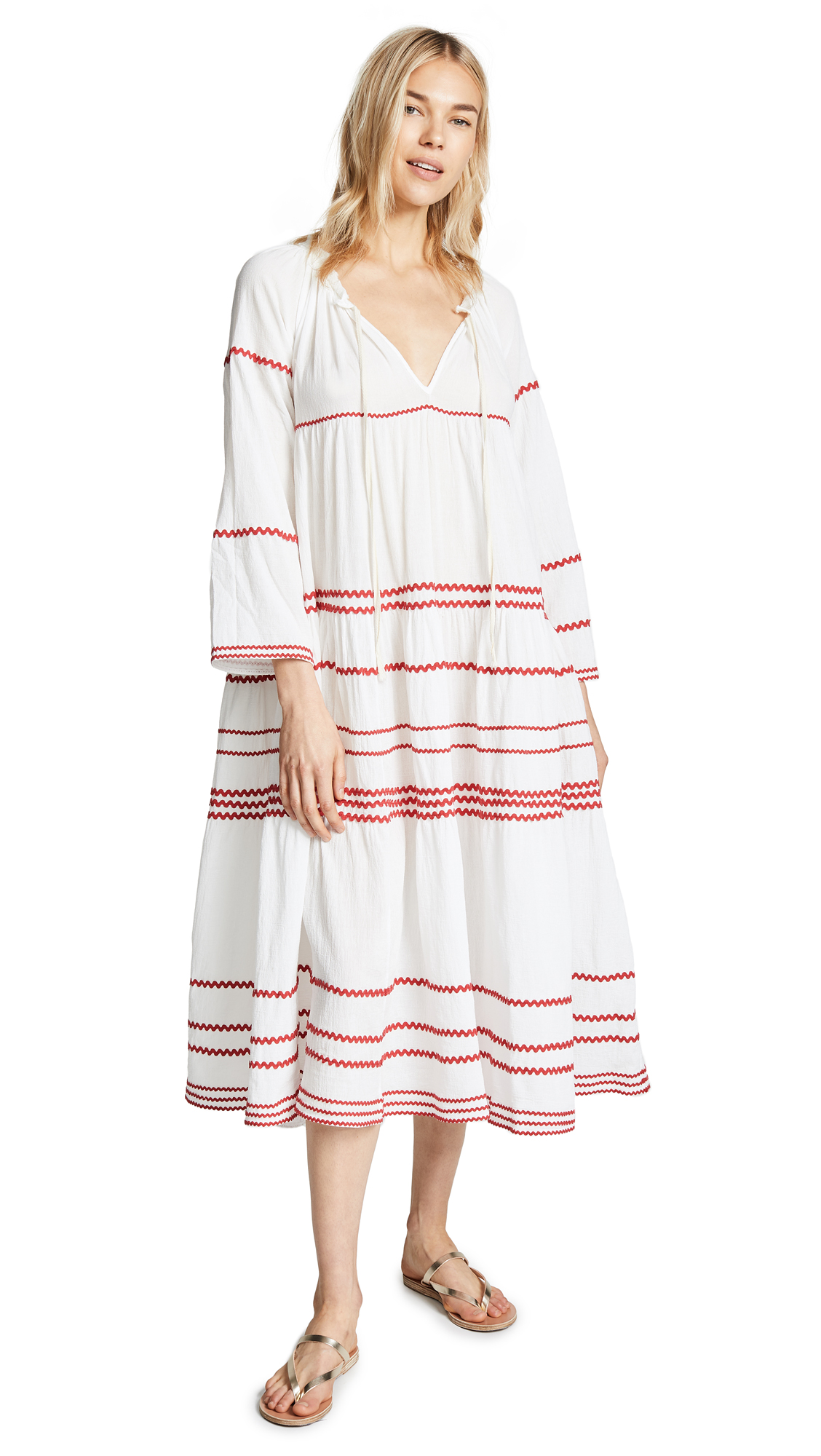 9SEED Majorca Long Sleeve Ruffle Tier Maxi Dress in White/Red