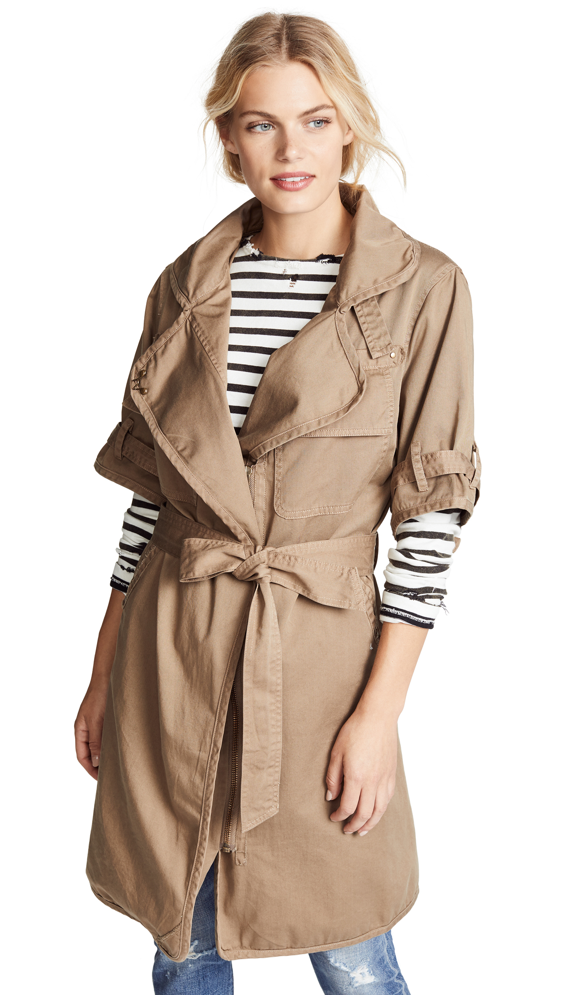 NSF Kayu Trench Coat In Khaki