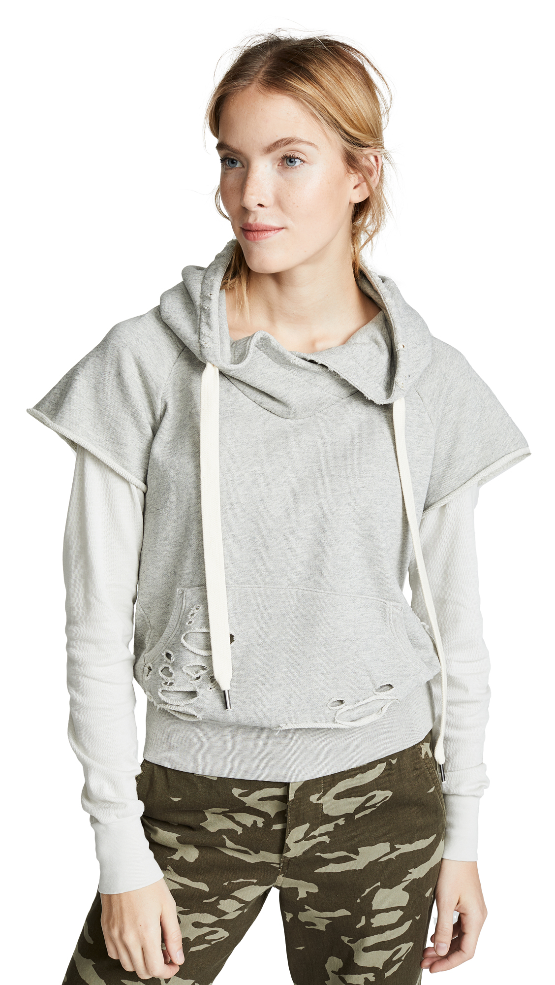 NSF Ray Jersey Sleeve Pullover Hoodie in Heather Grey/Soft White