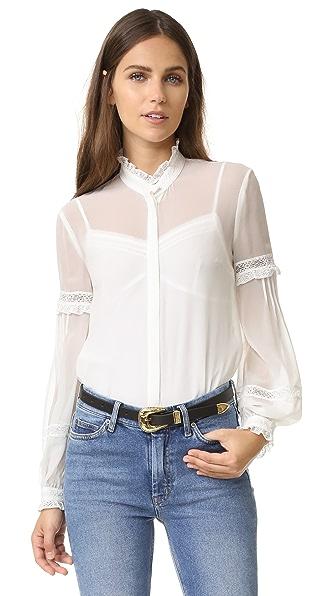 Шелковая рубашка кружева с кружевным воротником